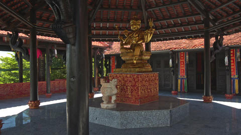 Buddha Statue on Marble Base in Buddhist Temple Main Hall Footage