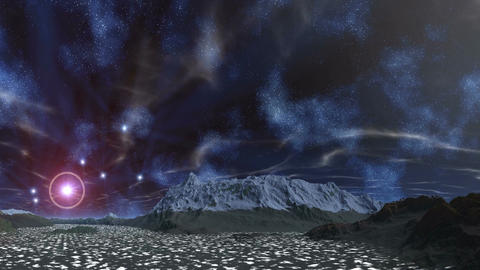The star in the halo, nebulae and clouds Animation