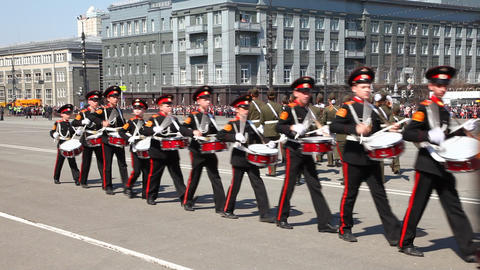 Young drummers are on parade in honor of the victory in World War II Footage