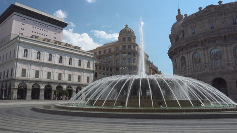 Fountain on Piazza De Ferrari in Genoa - Medium shot Live Action