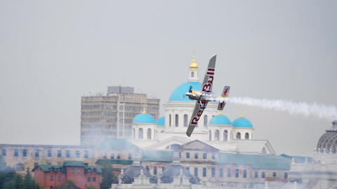 Red Bull challenge airplane at the stage Footage