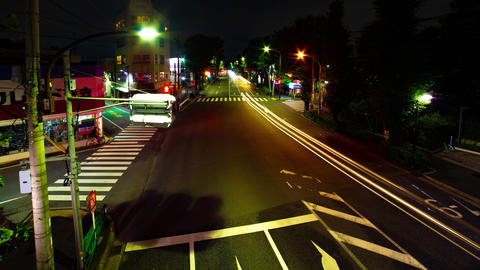 A timelapse of the downtown street in Tokyo slow shutter wide shot panning Footage