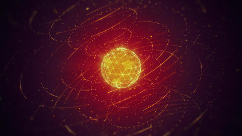 Hi-Tech Yellow Polygonal Sphere and Rotating Lines on Red Background Animation