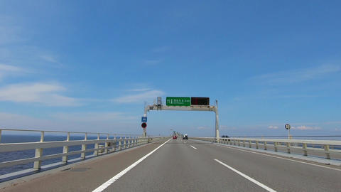 Japan Road, Tokyo Bay Aqua Line. Time-lapse shooting Footage