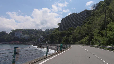 Driving on a national road by the sea Footage