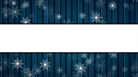 Abstract falling snowflakes on dark blue background video animation GIF