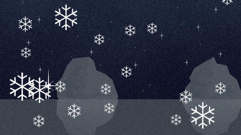 Snowflakes Falls in the North Pole Cartoon Style Footage