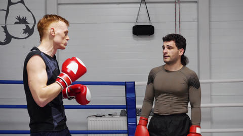 Boxers Discuss Fight Joke Conversation Sport Ring Footage