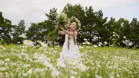 Girl Flowers Outdoor Blossom Daisy Meadow Scenery Live Action