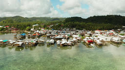 Fishing village and houses on stilts. Dapa city, Siargao, Philippines Footage