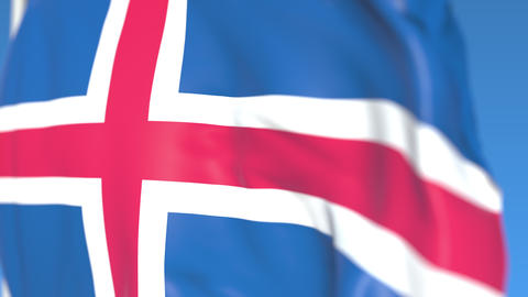 Flying national flag of Iceland close-up, loopable 3D animation Footage