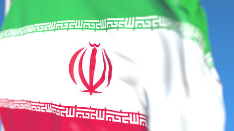 Waving national flag of Iran close-up, loopable 3D animation Footage