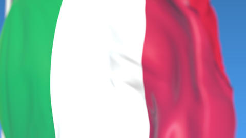 Flying national flag of Italy close-up, loopable 3D animation Footage