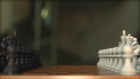 Chess game. Chessboard close-up, realistic 3D animation Footage