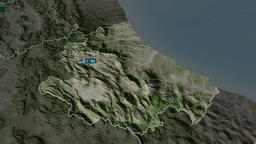 Abruzzo - region of Italy. Satellite Animation