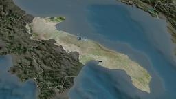 Apulia - region of Italy. Satellite Animation