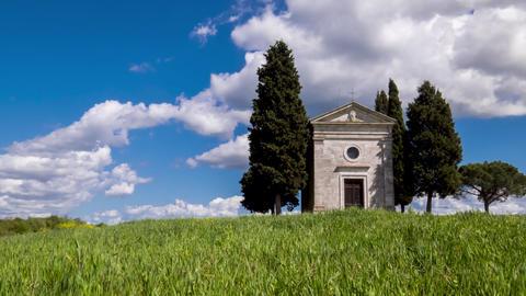 Timelapse of the Chapel of Madonna di Vitaleta, San Quirico D'Orcia, Siena Footage