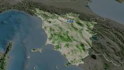 Toscana - region of Italy. Satellite Animation