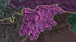 Trentino Alto Adige - autonomous region of Italy. Administrative Animation