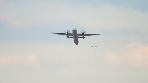 Turboprop airplane departure Footage
