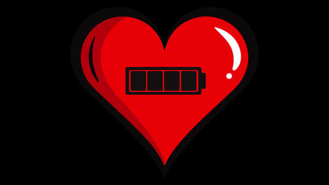Red heart and battery inside black Animation