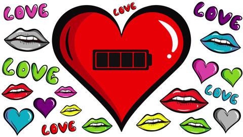Red heart and battery inside lips Animation