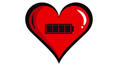 Red heart and battery inside white Animation