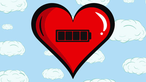 Red heart and battery inside clouds Animation
