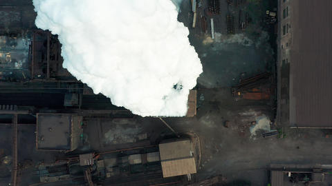 Aerial view. Industry Pipe Pollute the Atmosphere With Smoke, Ecology pollution Live Action