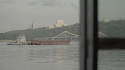 Barge floating on the river Dnepr Footage