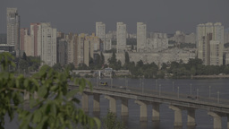 Kiev, Ukraine. Urban landscape : houses and the bridge across the Dnieper river Footage