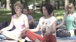 Women doing yoga in the Park day. Meditate in the Lotus position . Slow motion Footage