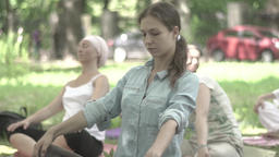A group of girls do yoga in the park. Slow motion Footage