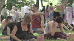 A lot of people do yoga. Slow motion Footage