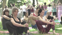 A group of people doing yoga in the Park day sitting on the grass. Slow motion Footage