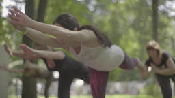 Women doing yoga in the park in the afternoon Footage