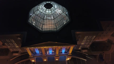 Academy of Watercolor and Fine Arts in Moscow at night, aerial Footage