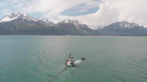 Alaska salmon fishermen setting their gear! Live Action