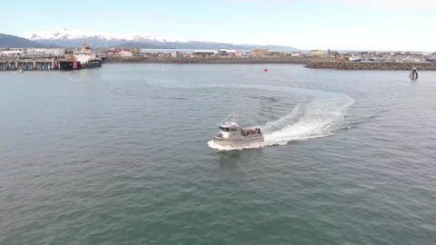 Sea trials for a a commercial fishing boat Live Action