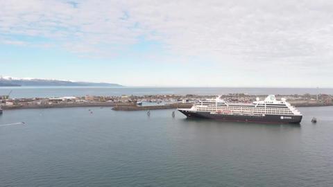 Cruise ship in Homer Alaska Live Action