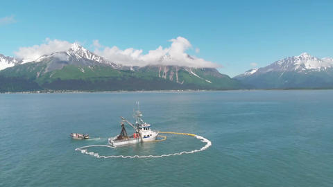 Sunny day in Alaska commercial fishing Live Action