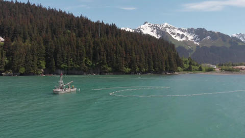 Beautiful scenery while commercial salmon fishing in Alaska Live Action