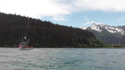 Salmon fishing boat in Alaska Footage