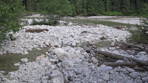 zoom in. Movement of water in a mountain river Footage