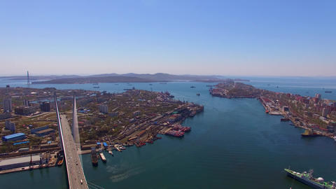Aerial view of the city landscape with a view of the cruise ship Live Action