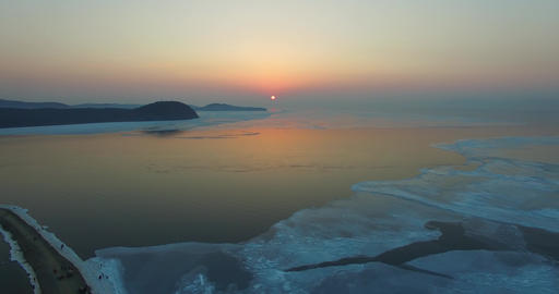 Dramatic sea sunset over the Amur Bay. Vladivostok, Russia Live Action
