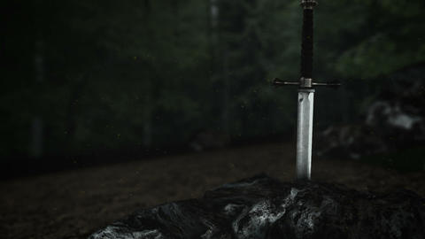 The Epic Excalibur Inside a Rock in a Forest Live Action