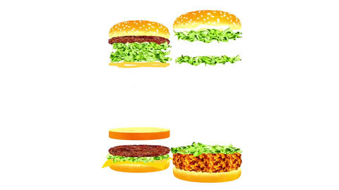 Animation of hamburgers for snack bars, cafes and restaurants Animation