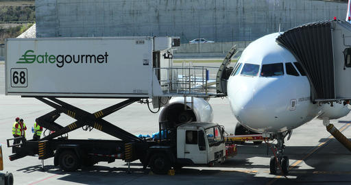 Gate Gourmet Truck Delivers Meals Into Airbus A330 Live Action