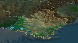 Provence-Alpes-Cote d'Azur - region of France. Physical Animation